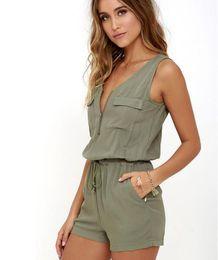 6873a639f51a Sexy Sleeveless Bodysuit Women Jumpsuit Shorts Romper Summer V-neck Zipper  Pockets Playsuit Fashion Beach Overalls Femme Frock