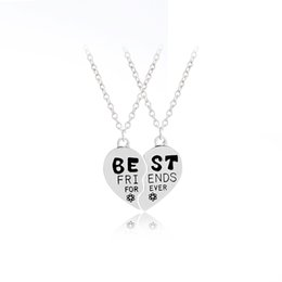 $enCountryForm.capitalKeyWord Canada - 2019 New Fashion Best Friends Forever Engraved BFF Friendship Necklace For 2 Broken Heart Puzzle Pendant Necklace Jewelry