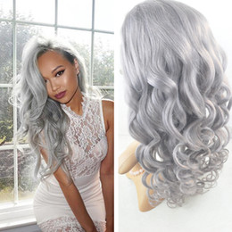 human hair grey lace front wigs Canada - Free Part Gray Brazilian Human Hair Glueless Full Lace Wig With Baby Hair 8A Sliver Grey Body Wave Lace Front Wigs 130% Density
