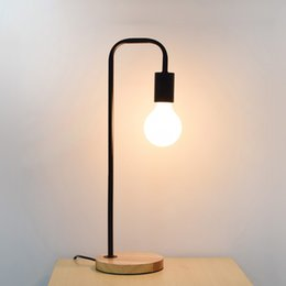 Art Deco Bedside Lamps Canada - Led Desk Lamp Wood Iron art Table Lamp Desk Light Wooden Metal Lighting E27 For Bedroom Bedside Reading Table Lamp Lighting