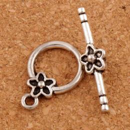 Plum Flower Pulsera de palanca de alternar 100sets / lot Resultados de la joyería de plata antigua Fit pulseras L847 Resultados de la joyería Componentes LZsilver en venta