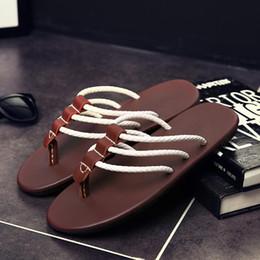 Beach Slippers Man Canada - Summer Men Flats Slippers Fashion Three Bar Cool Shoes Men's Flip Flops Beach Shoes Leisure Slippers Male Footwear