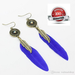 pendants out leaves Australia - Feather Dangle Earrings Bohemia Hollow Out Circle Silver Plated Leaves Tassel Blue Feather Pendant Ear bea052