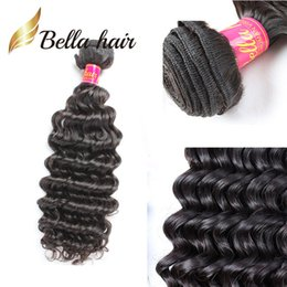 dyeable hair weave 2020 - Bella Hair® 100% Unprocessed Human Hair Weave Dyeable 11A Deep Curly Wave Wavy Hair Bundles Free Shipping Top Quality Re