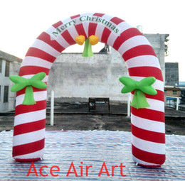 inflatable candy Canada - 3 meters Wide Beautiful inflatable Christmas candy cane Arch for Christmas Hoiliday Decoration made in China