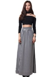 Long Black White Striped Maxi Skirt Online | Long Black White ...