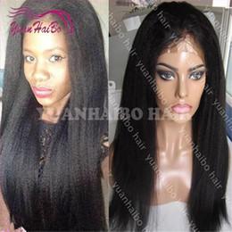 Human Hair Kinky Canada - Hot sale 1b kinky straight peruvian virgin hair 100 human hair lace front wig free shipping