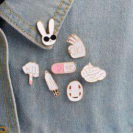 $enCountryForm.capitalKeyWord Canada - White rabbit mask figure sign brain pill cute cartoon white pins For women men jacket collar badge jewelry gift