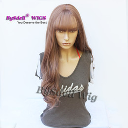 $enCountryForm.capitalKeyWord Australia - Beauty Milky Lavender Color Wig Air Bang  Fringe Style Long Curly Wavy Heat Resistant Hair Wigs for Black  White Women