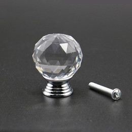 1 pcs round diamond 40mm clear glass crystal cabinet door knobs crystal drawer pull handles glass dresser tools kit