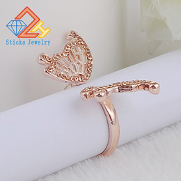 gypsy cluster ring 2019 - Lovely Ladies Butterfly Ring Rose Gold Color Open Rings For Women With Top Quality Cubic Zirconia Stone Jewelry Gifts ch