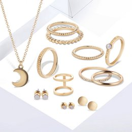 Joint Jewelry Canada - New Fashion Women Wedding Jewelry Set Moon Necklace Round Earrings Joint knockle Rings set Jewelry Sets for Brides bijoux