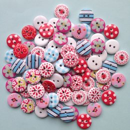 $enCountryForm.capitalKeyWord Canada - Free Shipping 300pcs 15mm lovely flowers painted wooden decorative buttons garment accessories fashion quality arts handmade