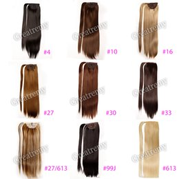 "synthetic hair ponytail wrap NZ - Greatremy 22"" Long Straight Wrap Around Ponytail Extension Synthetic Hairpiecs for Girls 10 COLORS #10#16#27#27 613#30#33#4#6#613#99J"