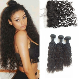 $enCountryForm.capitalKeyWord NZ - Unprocessed Brazilian Human Hair Water Wave with Frontal 3 Bundles Virgin Hair with Lace Frontal Closure Can be Dyed G-EASY