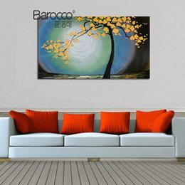 Chinese  Yellow Flowers Tree Abstract Oil Painting 100% Hand Painted Landscape Oil Painting on Canvas Modern Home Decoration Wall Art manufacturers