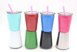 Cup straws online shopping - 9colors oz wine glasses Stainless Steel Tumbler oz cups Travel Vehicle Beer Mug non Vacuum mugs with straws lids