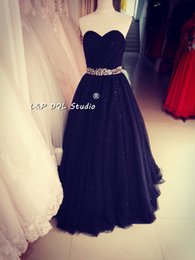 $enCountryForm.capitalKeyWord Canada - Stunning Ball Gown Prom Dresses Long Train Sparkling Sequined tulle Lace-up Back Dark Navy Evening Gown Black Formal Gowns Real Photos