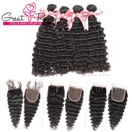 Discount hair bundles way closure - Natural Color Brazilian Deep Wave Hair Bundles 4pcs With 1pc 3 Way Part Lace Closure 4x4 Unprocessed Human Virgin Hair W