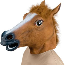 Barato Rosto De Mulheres De Látex-New Horse Head Mask Creepy Halloween Costume Fur Mane Latex Realista Full Face Máscara de cabeça cheia para mulheres Homens Brown Color
