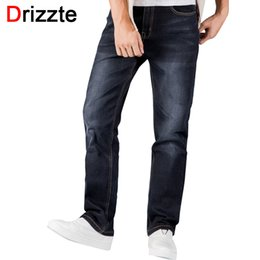 Pantalones Vaqueros Rectos Sueltos Baratos-Wholesale-Drizzte Mens Jeans más tamaño 30-44 Stretch Denim 4 colores Men's Straight Jean Pantalones Casual Relax Loose Fit Jeans Pantalones Pantalones