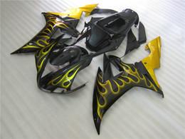 $enCountryForm.capitalKeyWord Australia - 7 gifts Fairing kit for Yamaha YZF R1 2002 2003 black yellow flames fairings set YZF R1 02 03 WE47