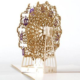 kirigami origami cards 2019 - (10 piece lot)Hollow Gold Ferris Wheel Handmade Kirigami Origami 3D Pop UP Greeting Cards Postcard For Birthday Party Gi