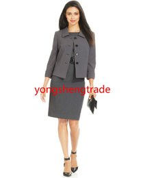 $enCountryForm.capitalKeyWord Canada - Fresh Style Customized Gray Four-Button Three-Quarter-Sleeve Jacket & Belted Sheath Dress Point Collar Full Lined 736