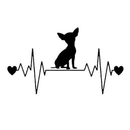 China 20.3*11.7CM Chihuahua Heartbeat Lifeline Car Styling Animal Vinyl Decal Lovely Pet Car Stickers suppliers