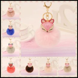 Barato Raposa De Coelho Artificial-Cute Rhinestones Fox Artificial Fluffy Fox Rabbit Fur Ball Chaveiro 21 Styles Keychain Bag Colchão de suspensão de carro
