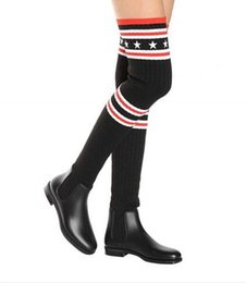 $enCountryForm.capitalKeyWord Canada - 2018 early Spring Fashion Designer Boots Women Storm rubber and ribbed-knit thigh sock boots stripes and stars Printed Lovely Knitting Boots