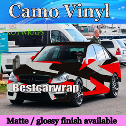 gloss white car 2019 - Large Spots Red white black Camo Vinyl Car Wrap COVERing With Air Release Gloss  Matt Camouflage film covering foil 1.52