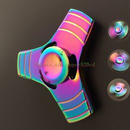 novelty desk toys Canada - 2017 Luxury Rainbow 3 Leaves Metal Fidget Finger Spinner Toys Hand Fingertip Spinner Gyro EDC Handspinner Desk Hand Novelty Gag Toys Gifts