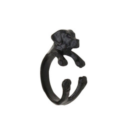 $enCountryForm.capitalKeyWord UK - New Punk Style Cocker Spaniel Rings ,Adjustable 3D Animal Rings Dog Black Antique Silver Bronze Punk Style For Special Gift