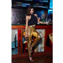 Leggings En Couleurs Brillantes Pas Cher-Candy Color Leggings Femmes Shiny Faux Leather Pants Pantalon de poche simple Slim Leggings Night Party Clubwear