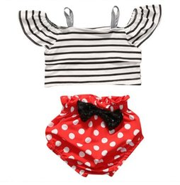 Barato Meninas Crianças Conjuntos Curtos-Ins Babies Summer Sets Baby Girl Striped Off-shoulder Jumper Shirt com pontos Bow Short Pants 2017 childrens Fashion Outfits