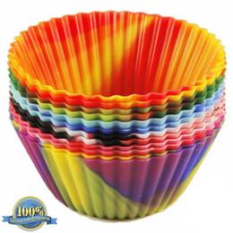 Camo Forros Do Queque Do Queque Do Bolo de Silicone moldes Redondos Reutilizáveis Muffin Antiaderente copos 7 cm 12 pcs grau alimentício (7)