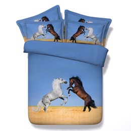 Horse Comforters Sets Canada - Hot Sale Blue Fightling Horse Animal 3D Bedding Sets Twin Full Queen King Size Fabric Cotton Bedspreads Dovet Covers Pillow Shams Comforter