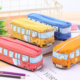 toy school buses Canada - Children Pencil Case Cartoon Bus Car Stationery Bag Cute Animals Canvas Pencil Bags For Boys Girls School Supplies Toys Gifts
