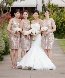 $enCountryForm.capitalKeyWord NZ - Tea Length New Arrival Rose Gold 2017 A line Bridesmaid Dresses V-Neck sleeveless Sexy Back Zipper custom made Free Shipping Hot Sale Dress