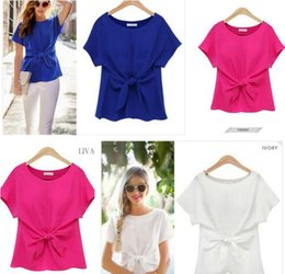 T-shirt Blanc Taille Plus Pas Cher-T-Shirts Womens Fashion Clothing Chiffon Femmes Summer Short Sleeve Tops Tees Elegant Bow T-shirt Solid Blanc Rose Bleu Plus Taille