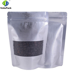 """China 14x20cm (5.5x7.8"""") Resealable Metallic Zip Bags barrier aluminum foil w  Window Texture Packaging stand up pouch silver cheap barrier bags suppliers"""