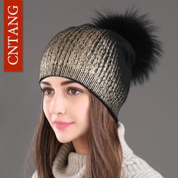 83158baacec 2017 New Winter Beanies Ladies Knitted Wool Warm Hats Fashion Pom Pom Real  Raccoon Fur Caps Skullies Hat For Women Print Fur Cap