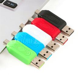 2 en 1 USB mâle vers micro USB double slot adaptateur OTG avec lecteur de carte mémoire TF / SD pour Android Smartphone Tablet Samsung