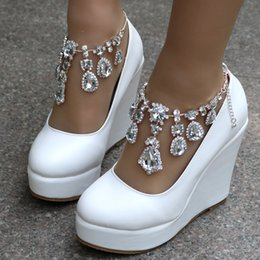 rhinestone wedge bridal shoes NZ - Crystal Queen Ankle Strap High Wedges Platform Pumps Large Size Bridal Shoes Women Crystal Rhinestone Platform Shoes Mary Jane