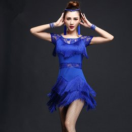 Sexy Latin Dancewear Baratos-Dance Wear Women 2017 Latin Dress Mujeres Sexy Latin Disfraces Dress Fringe Dancewear Women's Dancing Stage Wear negro rojo azul