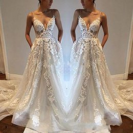 China 2019 Lace Applique Sexy Country Wedding Dresses Modest Spaghetti Backless Elegant Beach Boho Vintage Bridal Gowns Cheap supplier line wedding dresses tulle spaghetti straps suppliers
