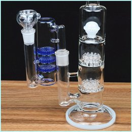 heady white bong Australia - 36cm tall black white glass bongs ash catcher 18mm heady recycler oil rigs dab beaker bubbler honeycomb perc water pipes bowl 18.8mm