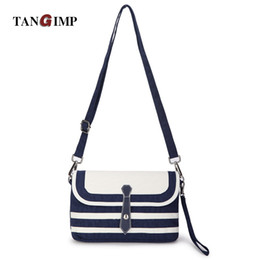 Navy Striped Bags NZ - Wholesale- TANGIMP 2016 Women Handbags Shoulder Bags  Lady Striped Navy 41125e10d736e