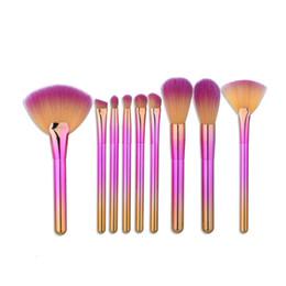 Soft fan online shopping - 9pcs Rainbow Makeup Brushes Set Soft Synthetic Hair Professional Make Up Beush Tools Foundation Fan Powder Cream Blush Makeup Brush Kit